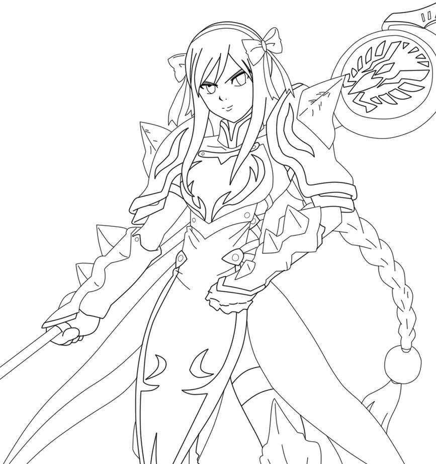 Erza Scarlet S Lightning Empress Lineart By Kuroshiro05 On