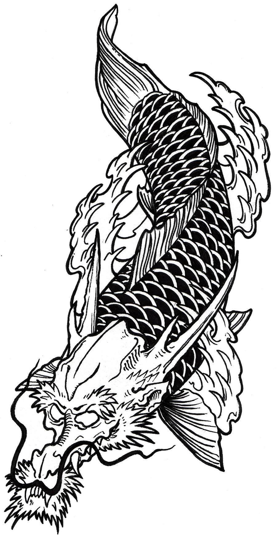Pin pin dragon head koi fish tattoo hawaii dermatology on for Koi fish head