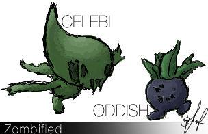 Zombie Celebi and Oddish