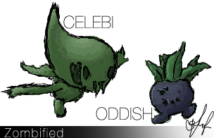 Zombie Celebi and Oddish