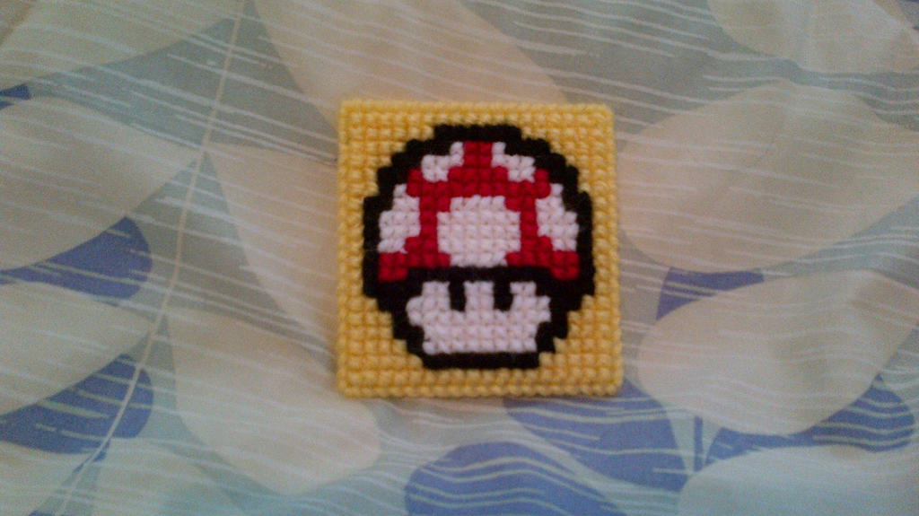 Cross Stitched Mario Mushroom by LuvYen101