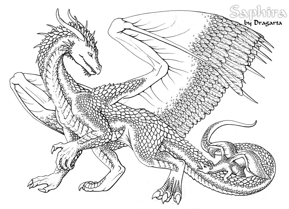 detailed dragon coloring pages - photo #41