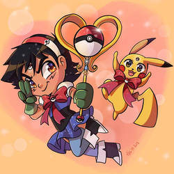 Magical Girl Ash and Pikachu by Meg-Marmite