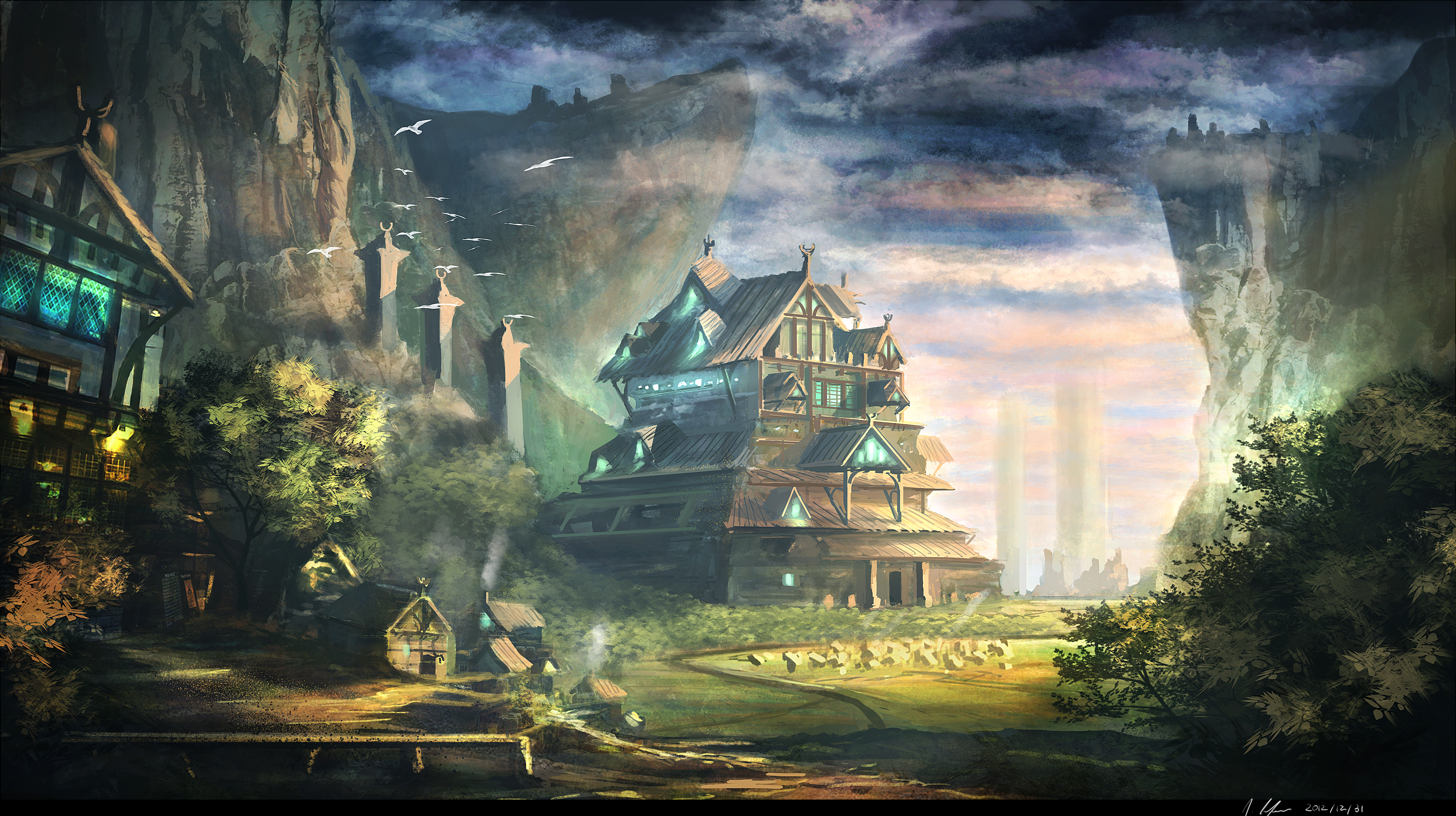 Best Fantasy Architecture Hd Wallpaper: Painting Art Wallpapers [Wallpaper Wednesday]