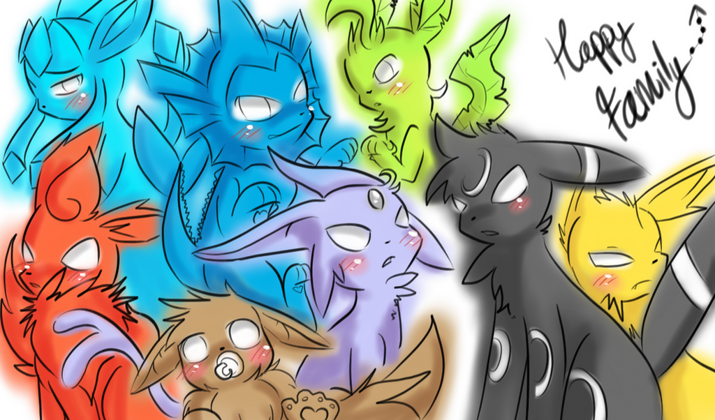 Happy Eevee Family by OkayIlie