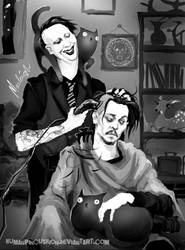 Marilyn gives Johnny a trim by HumanPinCushion
