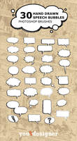 30 Hand Drawn Speech Bubble Photoshop Brushes
