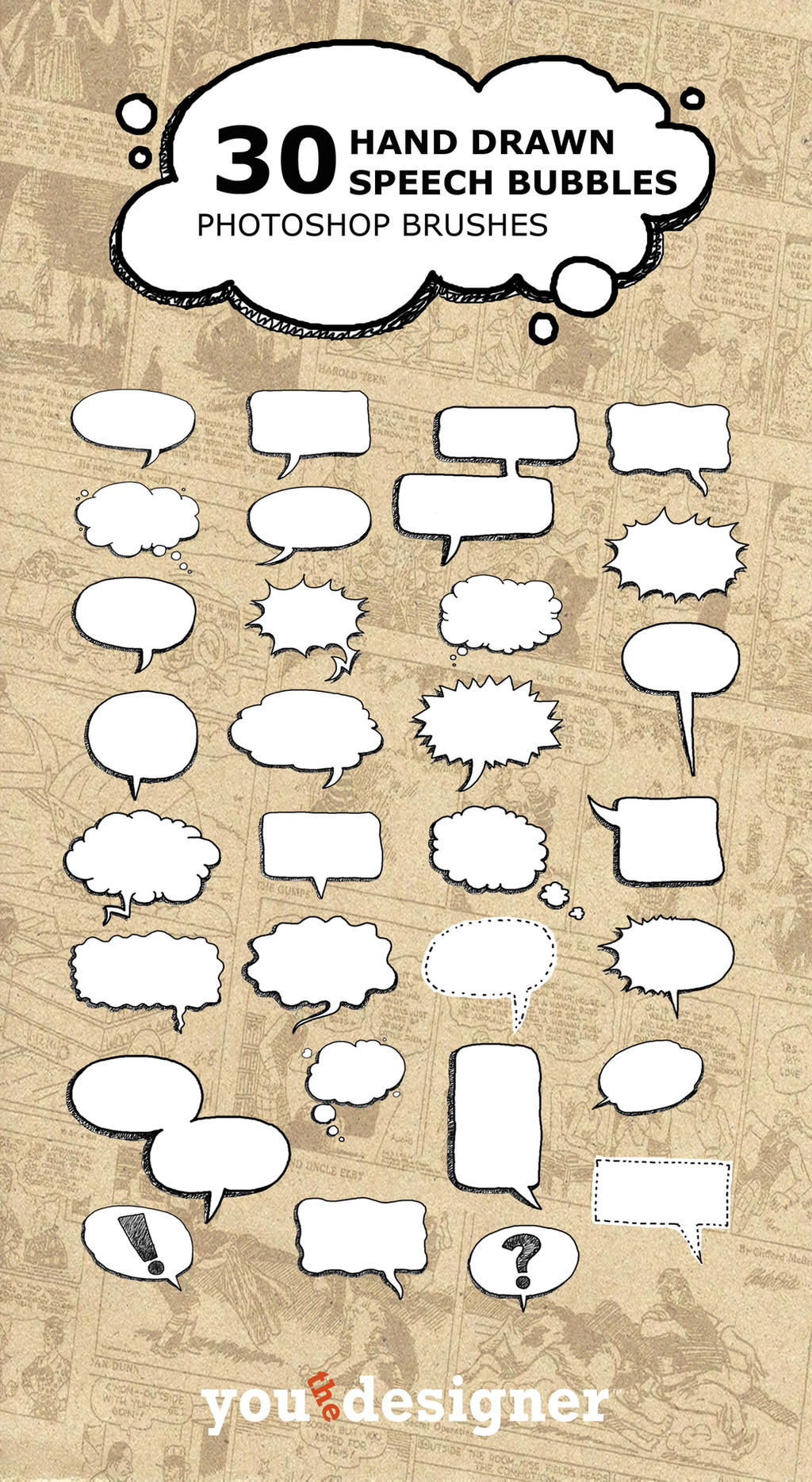 30 Hand Drawn Speech Bubble Photoshop Brushes by youthedesigner on ...