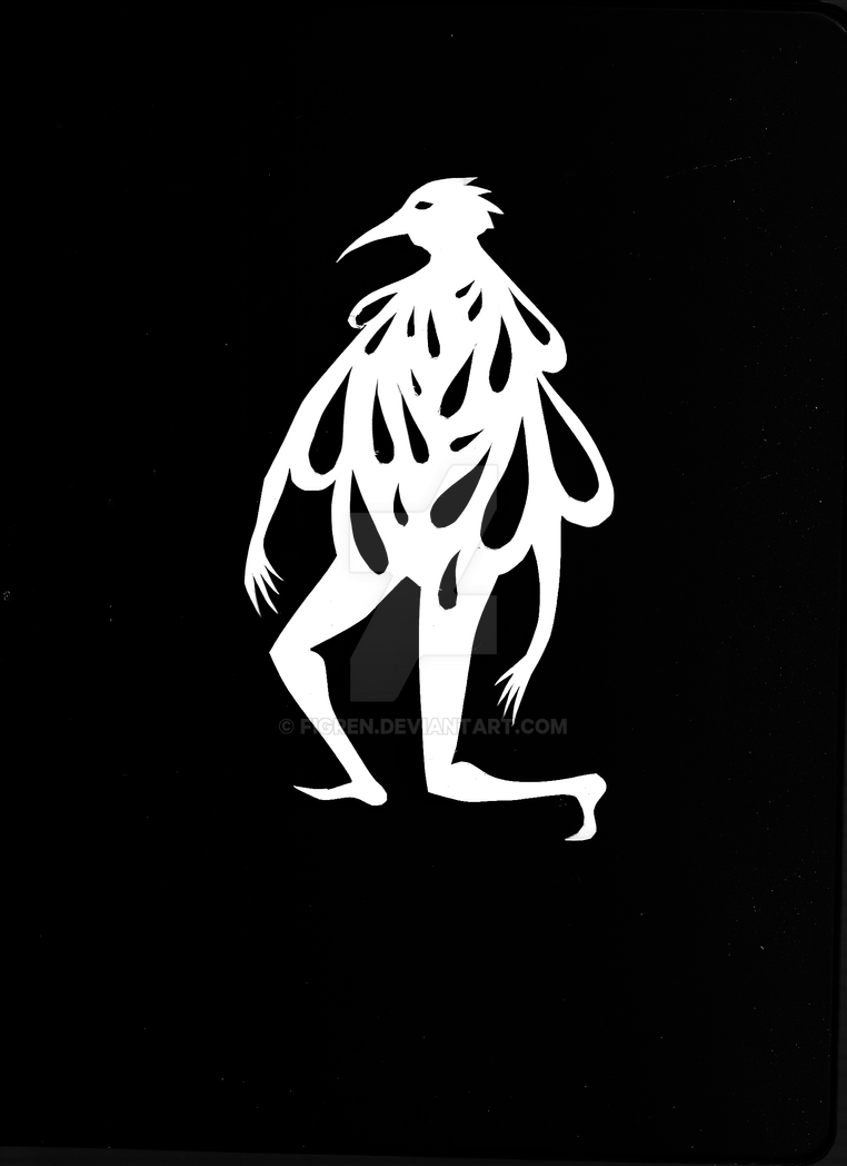 Cutout Of A Birdman Who Pondered by Figren