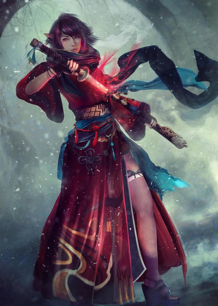 OSHIA - Final Fantasy XIV (Full Body Portrait) by Eddy-Shinjuku