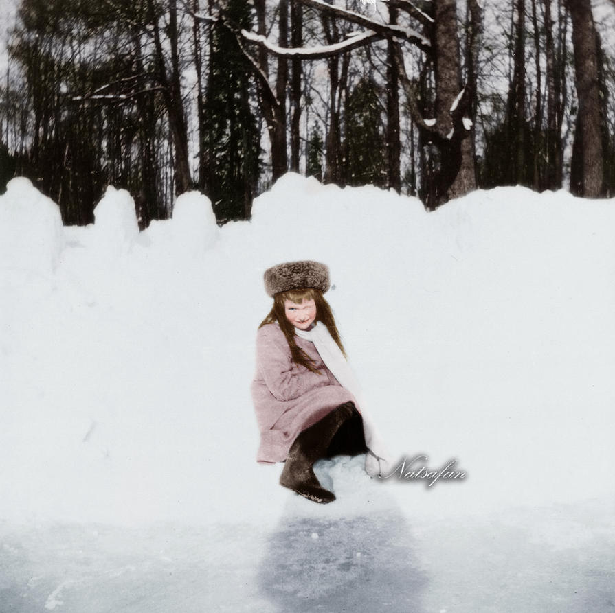 Anastasia in the snow ~ colored photo by natsafan