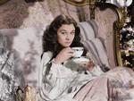 Scarlett drinking tea ~ colored photo