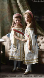 Tatiana and Olga 1904 ~ colored photo