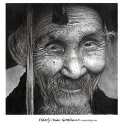 Elderly Asian gentleman by OdinPeterson
