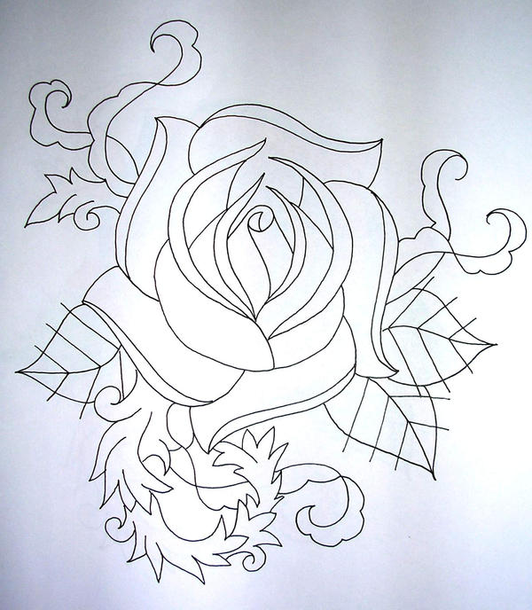 Line Drawing Rose Tattoo : Rose line drawing by onfire him on deviantart