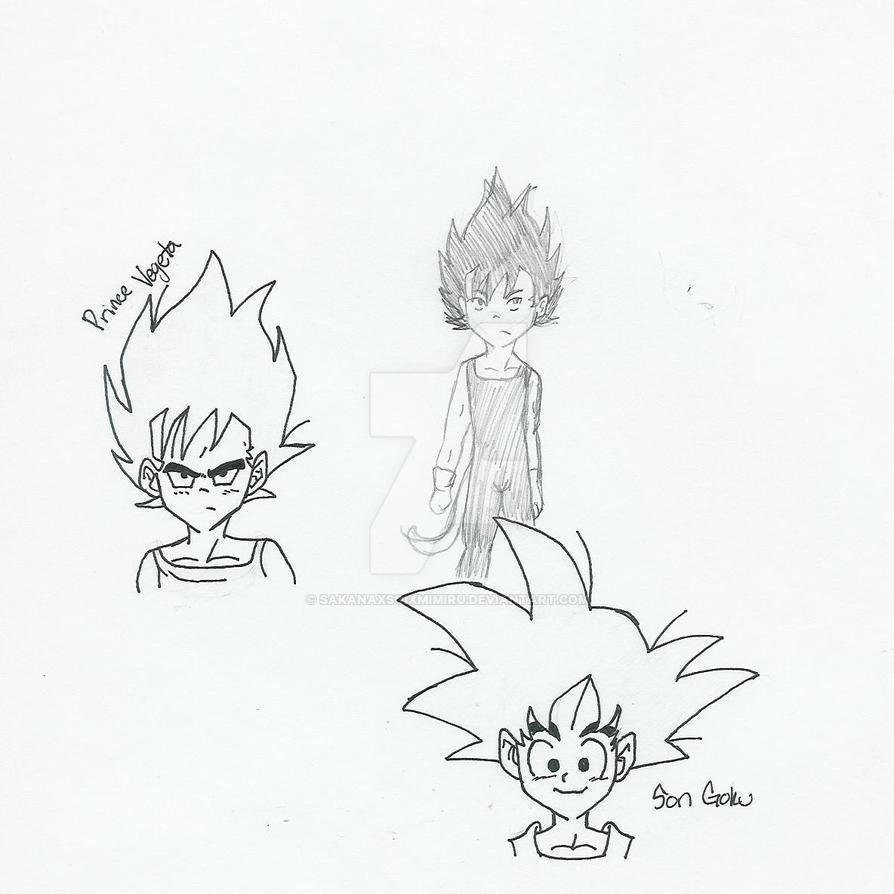 Son Goku Prince Vegeta Sketch by SakanaxSoixMimiru
