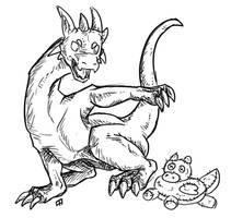 [Sketch] Very hostile dragon plushie