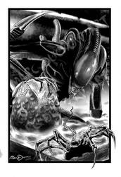 Aliens - Xenomorph and Facehugger by MarcDucrow