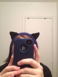 Blue Headband/Ear Warme with Black Cat Ears View:1 by LunarCatNinja