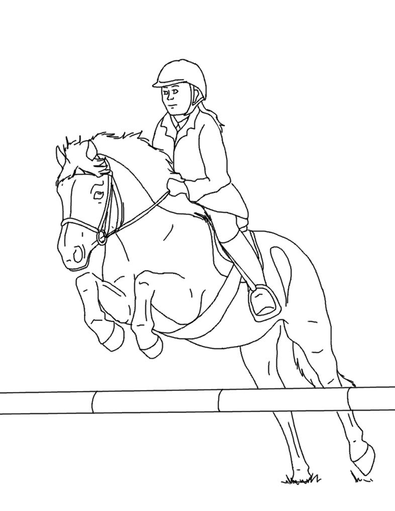Shire Paard Kleurplaat Horse And Rider Lines 03 By Equineribbon On Deviantart