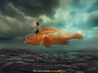 Boy on Flying Fish PS Tutorial by abduboxmedia