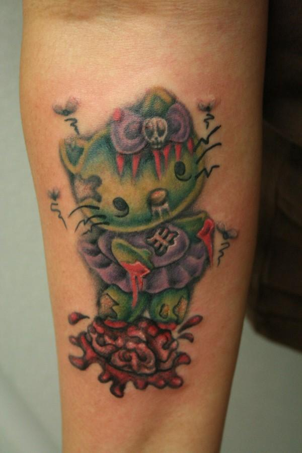 Hello Kitty Zombie Tattoo by RoxieHart