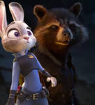 Rocket Raccoon With Judy Hopps