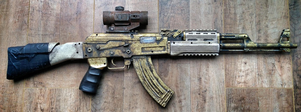 Gold AK47 prop by steelgohst@hotmail.com by steelgohst