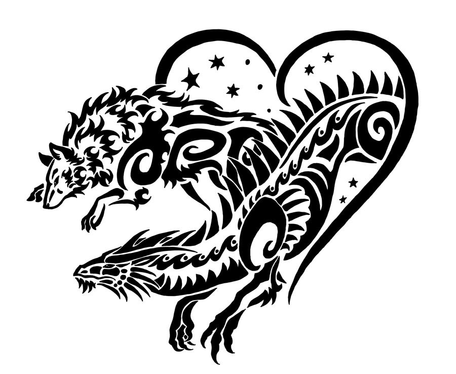 Dragon and wolf tribal by sunima on deviantart for Dragon and wolf tattoo