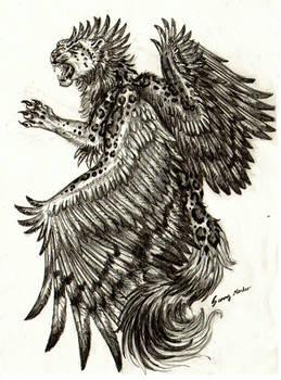 Winged Leopard sketch by Sunima