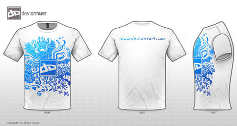 white tshirt blue design by Sunima