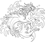 Hippocampi lineart