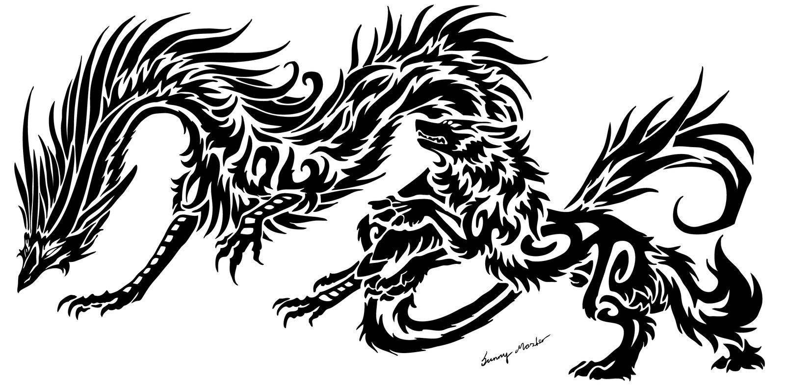 dragon and wolf tribal 2 by sunima on deviantart. Black Bedroom Furniture Sets. Home Design Ideas