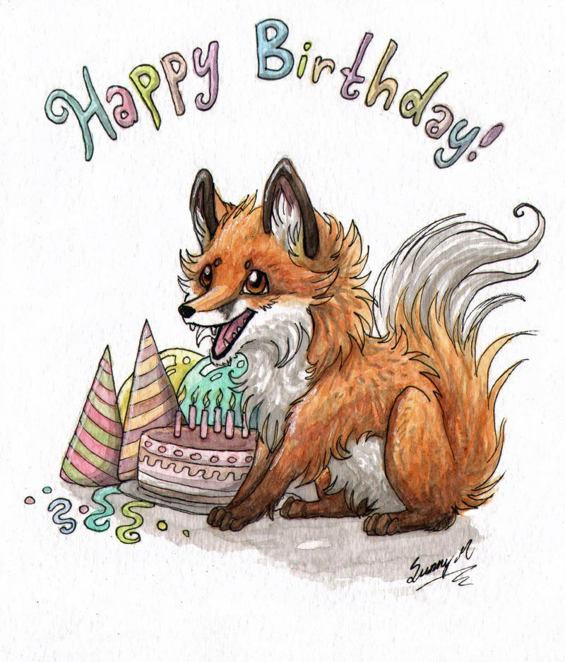 Лисенок открытка с днем рождения 89