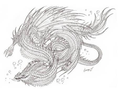 sea serpent lineart