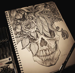 flower skull doodle