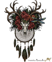 Dreamcatcher skull with colors by Sunima