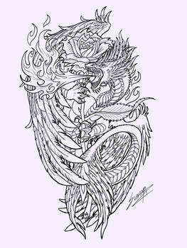 Dragon and rose lineart