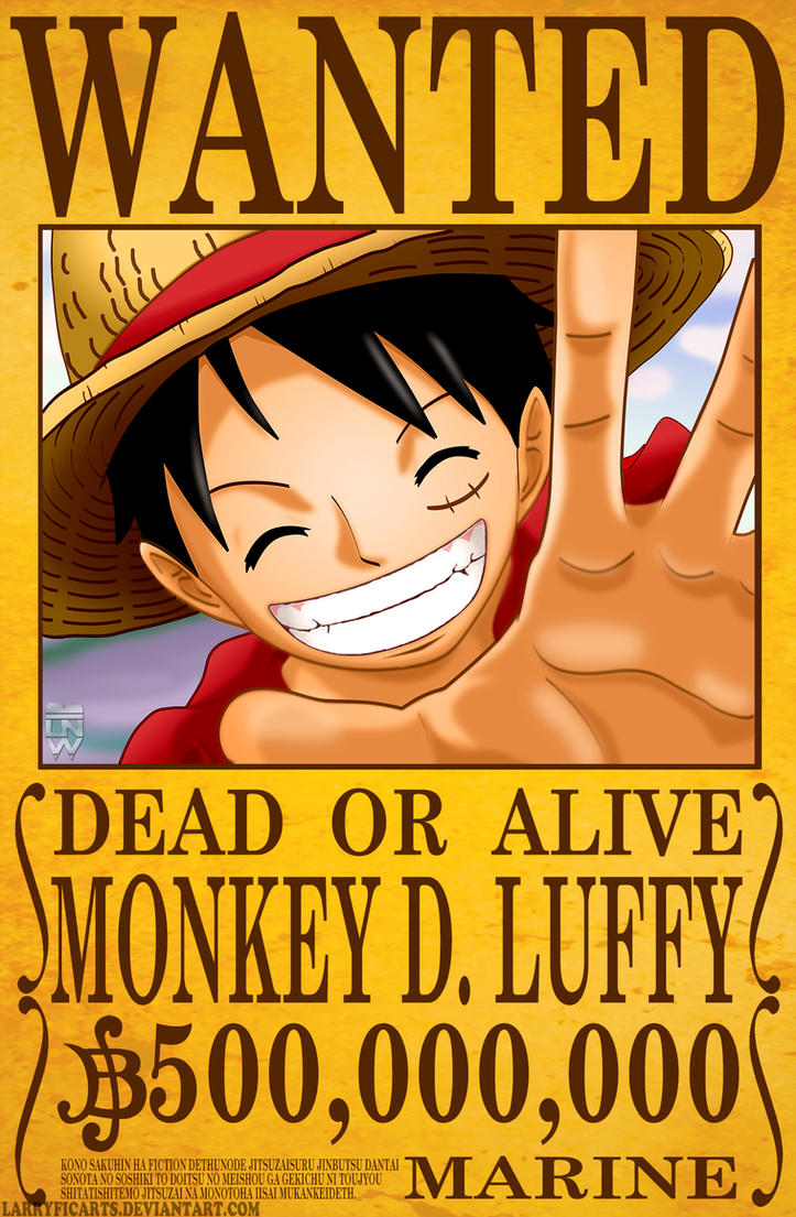 monkey d luffy wanted poster by larryficarts on deviantart. Black Bedroom Furniture Sets. Home Design Ideas