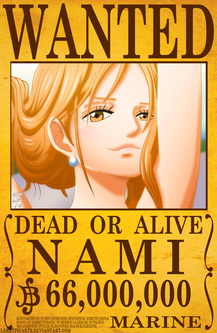 Nami wanted poster by larryficarts on deviantart - One piece wanted luffy ...