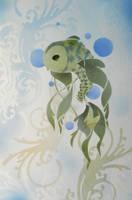 Vintage Koi - Stencil Print by darcydoll