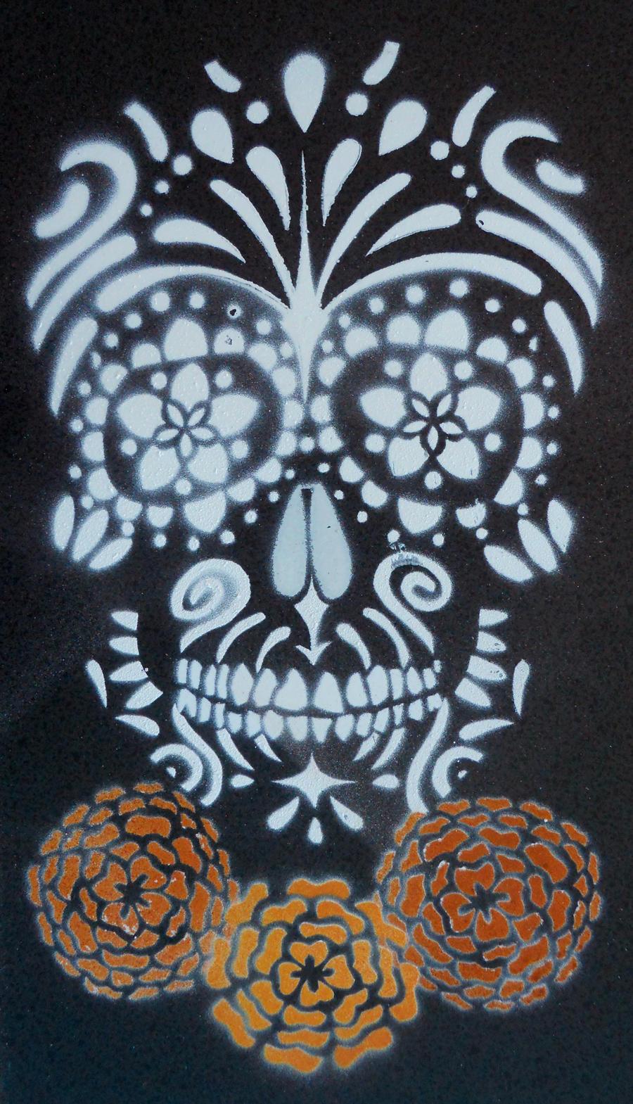 Sugar Skull Stencil on Tile by darcydoll on DeviantArt