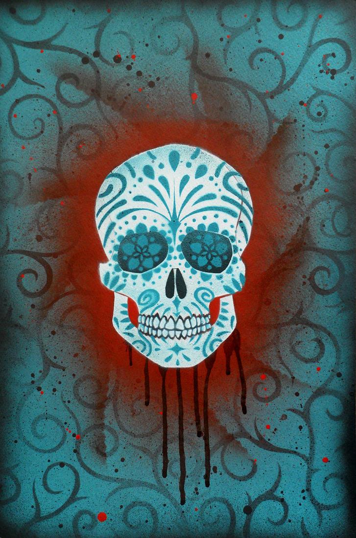 Sugar Skull Stencil Print 6 by darcydoll