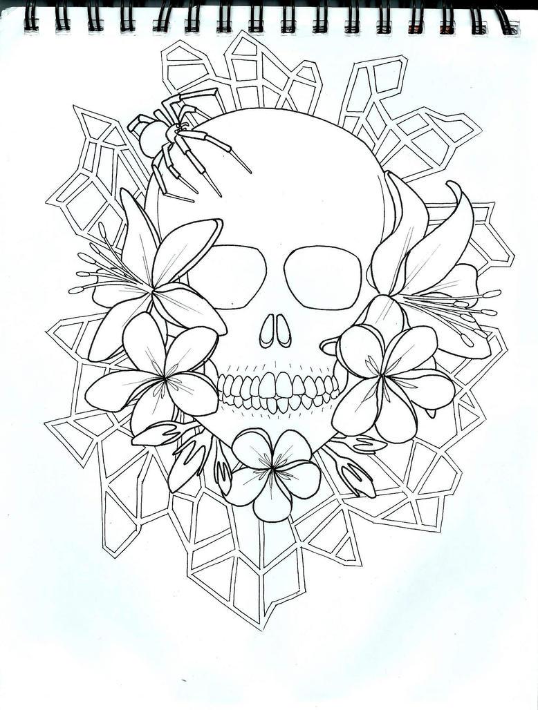 Line Art Skull : Skull line art by darcydoll on deviantart
