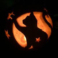kitty and stars jackolantern by darcydoll