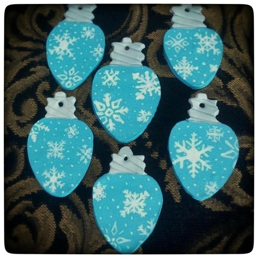 Blue Christmas Light Bulb Ornaments by grammabeth