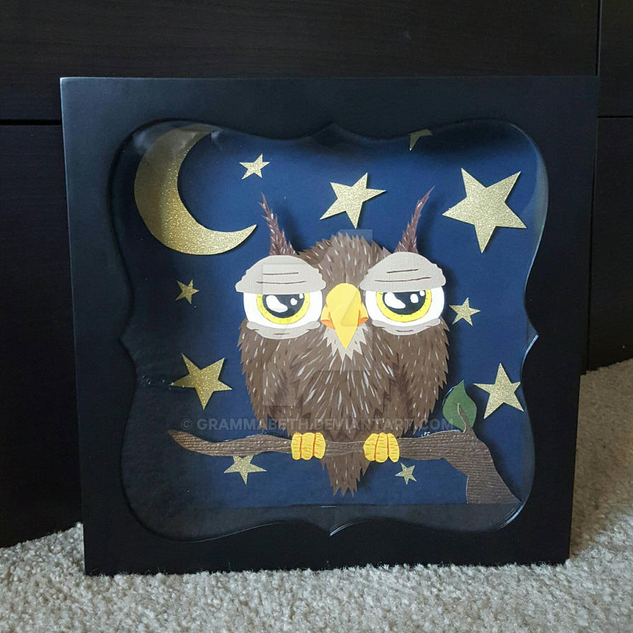 Sleepy Owl, Starry Night Shadow Box by grammabeth