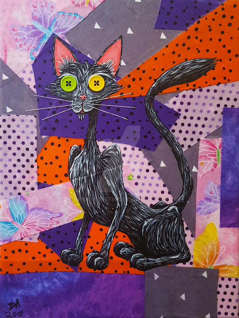 Buttons, The Patch Fabric Black Kitty by grammabeth