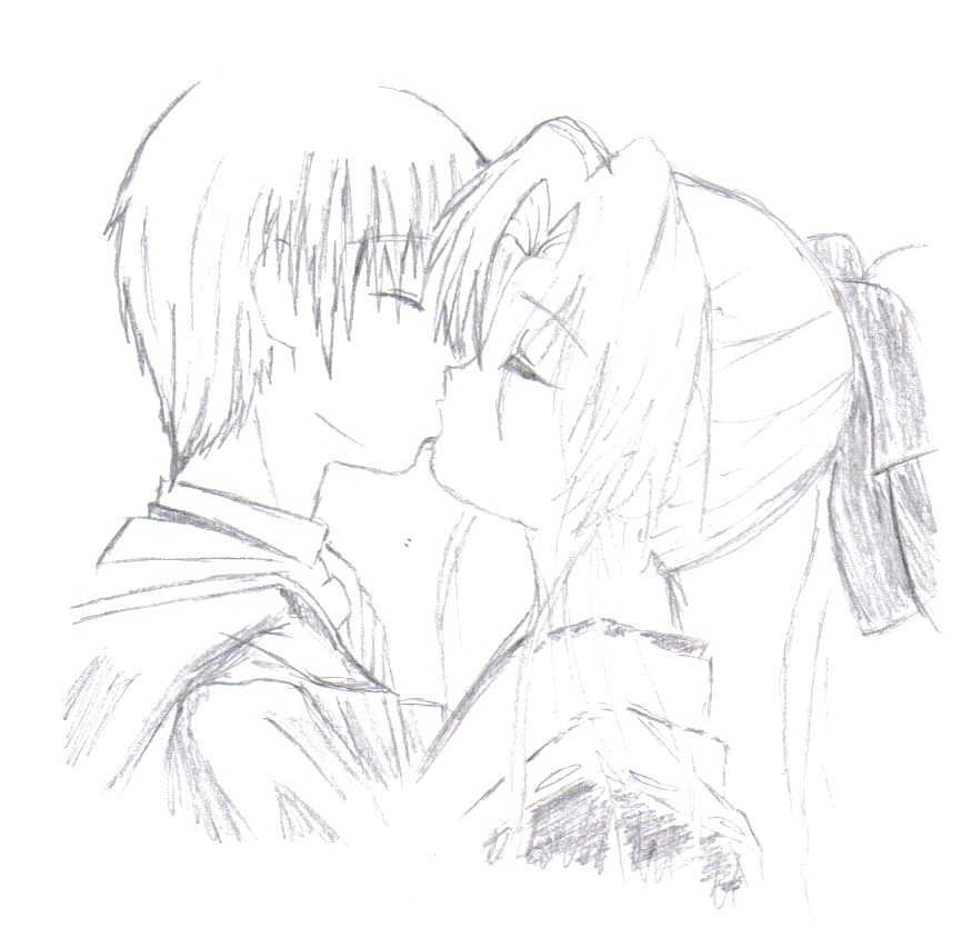 Anime Characters Kissing Drawing : Anime kissing by monroyjunpei on deviantart