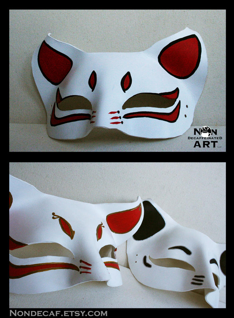 Anime Cat Masks Handmade Leather Masks By Nondecaf On